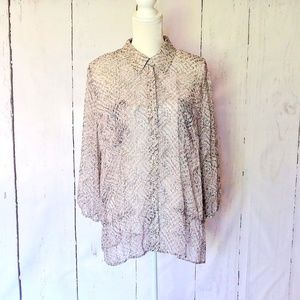 Chico's Animal Print button Down Sheer Blouse XL